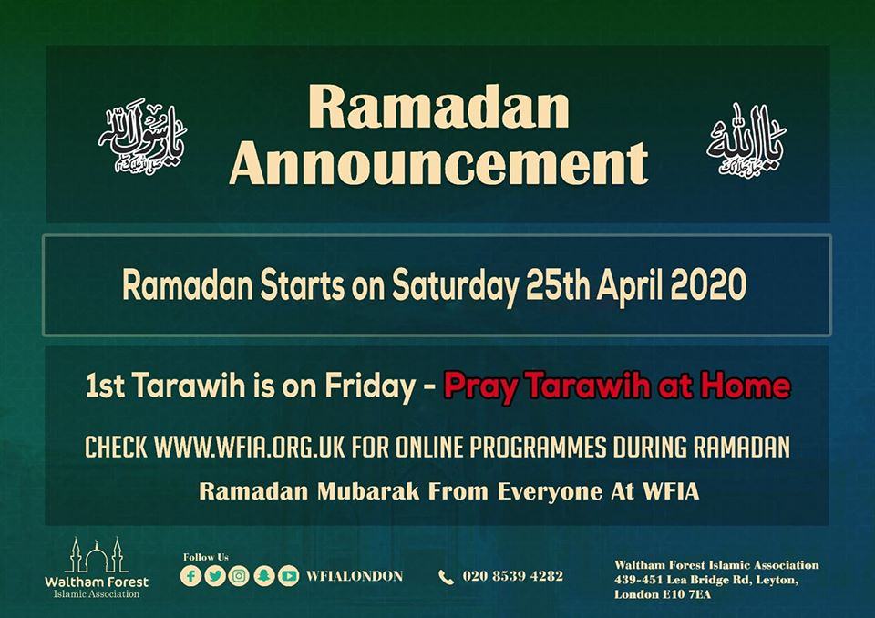 RAMADAN ANNOUNCEMENT