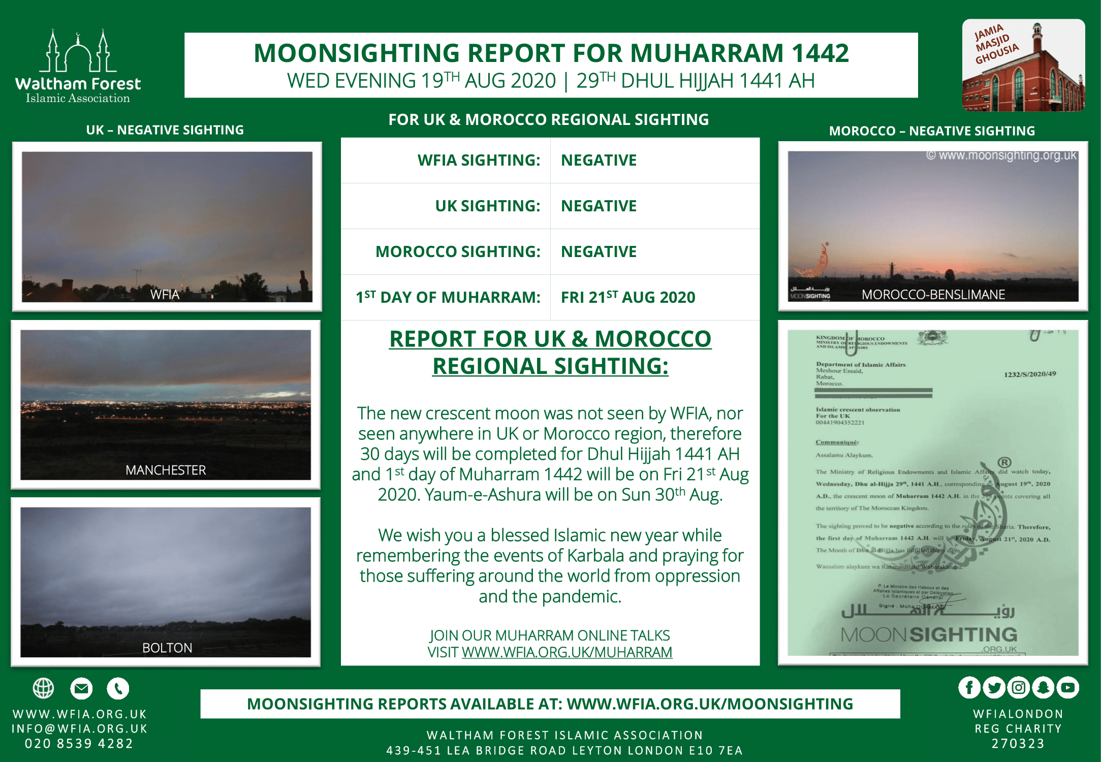 Muharram 1442 AH Moonsighting Report and Live Muharram Programme