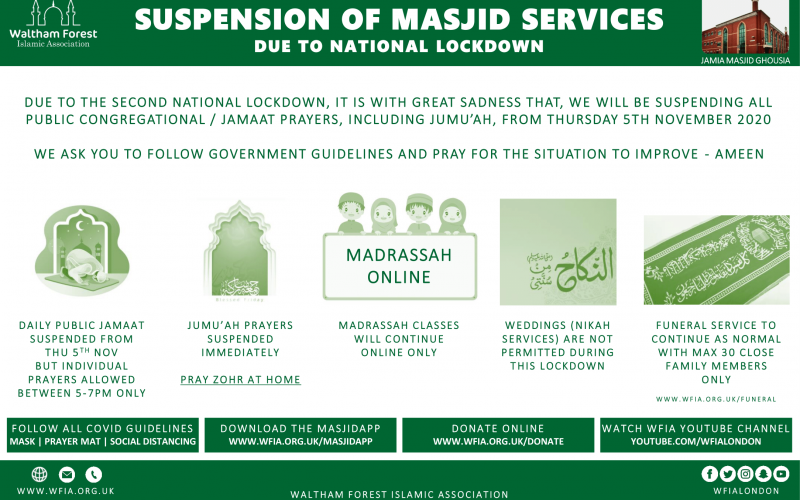 Suspension of Masjid Services Due to Lockdown