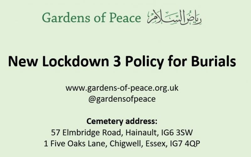 Lockdown3 Restrictions at Garden of Peace Cemetry
