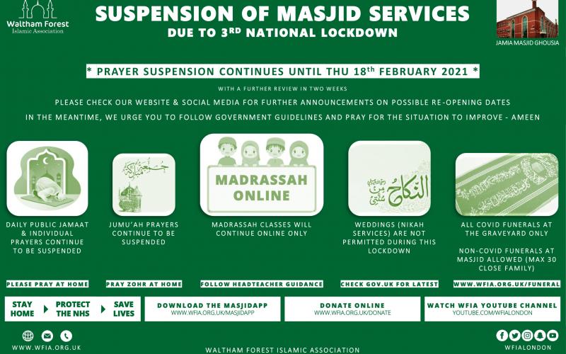Prayer Suspension Update 3rd Feb 2021
