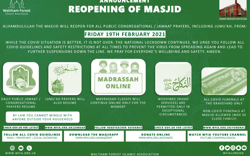 Reopening of Masjid from Friday 19 Feb 2021