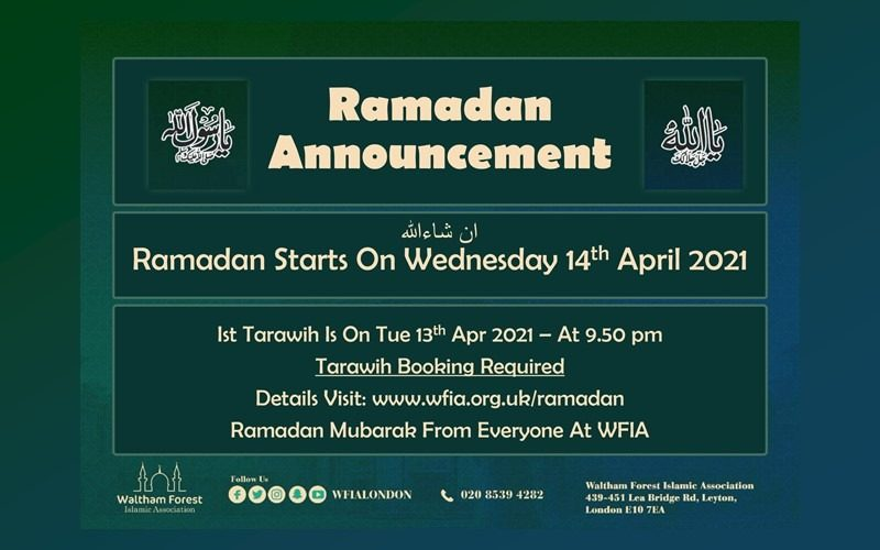 Ramadan Starts Wed 14th Apr 2021